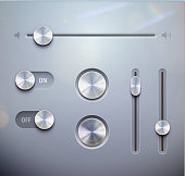 Vector illustration set of the detailed UI elements for media player –  buttons and slider in metallic style. Good for your websites, blogs or applications.