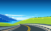 Highway with mountains and blue sea. Road trip banner. Vector Illustration