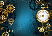 Turquoise, textured, steampunk background with brass and gold gears, a silver key and the clock. Steampunk style.
