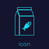Turquoise Bag of food for cat line icon isolated on blue background. Fish skeleton sign. Food for animals. Pet food package. Vector Illustration
