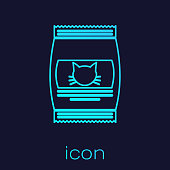 Turquoise Bag of food for cat line icon isolated on blue background. Food for animals. Pet food package. Vector Illustration