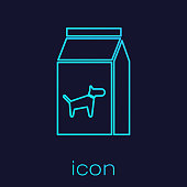 Turquoise Bag of food for dog line icon isolated on blue background. Food for animals. Pet food package. Vector Illustration