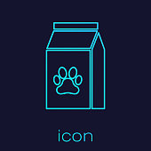 Turquoise Bag of food for pet line icon isolated on blue background. Food for animals. Pet food package. Dog or cat paw print. Vector Illustration