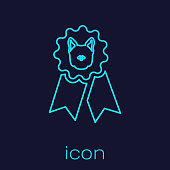 Turquoise Dog award symbol line icon isolated on blue background. Medal with dog footprint as pets exhibition winner concept. Vector Illustration