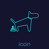 Turquoise Dog pooping line icon isolated on blue background. Dog goes to the toilet. Dog defecates. The concept of place for walking pets. Vector Illustration