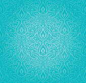 Turquoise  floral holiday vintage background design trendy blue-to-green fashion wallpaper pattern