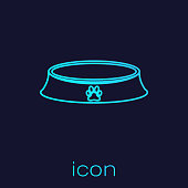 Turquoise Pet food bowl for cat or dog line icon isolated on blue background. Dog or cat paw print. Vector Illustration