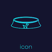 Turquoise Pet food bowl for cat or dog line icon isolated on blue background. Vector Illustration
