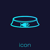 Turquoise Pet food bowl for cat or dog line icon isolated on blue background. Fish skeleton sign. Vector Illustration