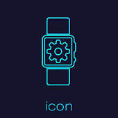 Turquoise Smartwatch setting line icon isolated on blue background. Smart watch settings. Vector Illustration
