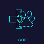 Turquoise Veterinary clinic symbol line icon isolated on blue background. Cross hospital sign. A stylized paw print dog or cat. Pet First Aid sign. Vector Illustration