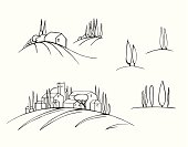 Set of the sketches of the Tuscany landscape