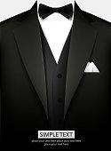 Elegant black tuxedo with bow. Vector illustration