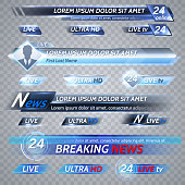 Tv news and streaming video vector banners. Illustration of video stream banner, media poster for tv broadcast