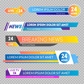 Tv News Banners Set on a Transparent Background for Your Text. Vector illustration of Broadcasting Show Media Banner