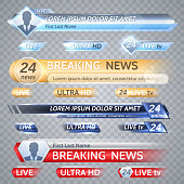 Tv vector bars and broadcast graphics for lower third news background. News banner for tv streaming, broadcasting television video illustration
