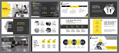 Yellow, white and black infographic elements for presentation slide templates. Business and concept can be used for annual report, advertising, flyer layout and banner.
