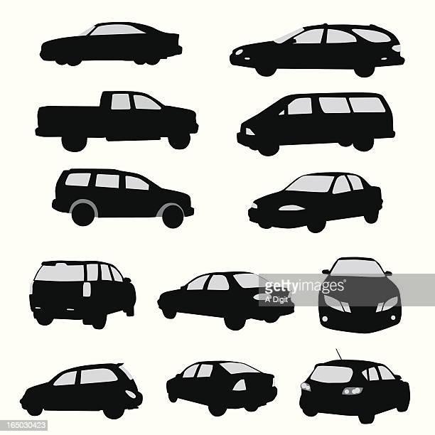 Twelve Car Collection Vector Silhouette