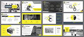 Yellow, white and black infographic elements for presentation slide templates. Business and consulting concept can be used for annual report, advertising, flyer layout and banner.