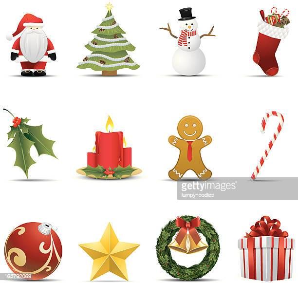 Twelve different Christmas icons