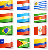 World flags. South America. Vector illustration with transparent effect. Eps10.