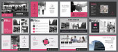 Pink, white and black infographic elements for presentation slide templates. Business and economics concept can be used for corporate report, promotion, workflow layout and banner.