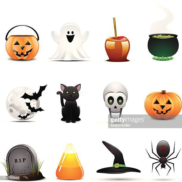 Twelve Halloween themed icons on a white background