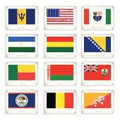 National Flags of Barbados, Bikini Atoll, Bosnia and Herzegovina, Bashkortostan, Bolivia, Benin, Belarus, Bermuda, Belize, Belgium and Bhutan on Metal Texture Plates with Screws.