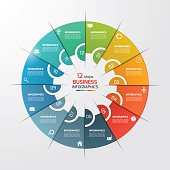 12 steps pie chart circle infographic template. Business concept. Vector illustration.
