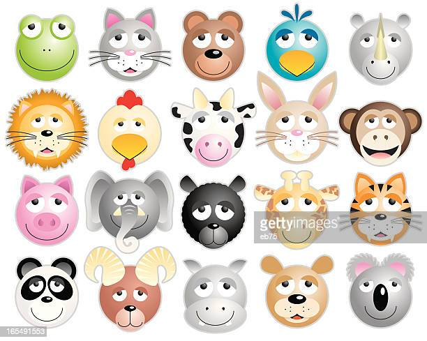 Twenty animal heads