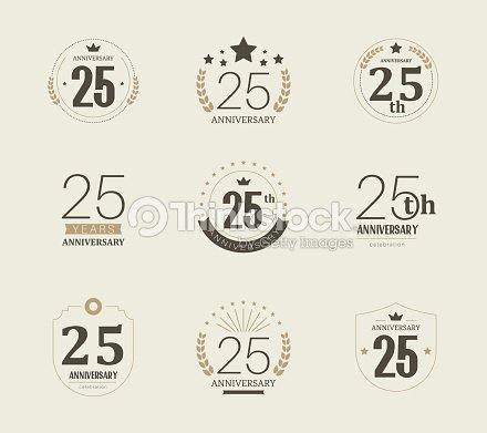 twenty five years anniversary logo 25th anniversary vintage logotype