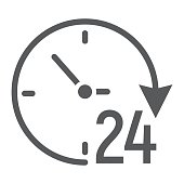 Twenty four hour glyph icon, e commerce and marketing, clock sign vector graphics, a solid pattern on a white background, eps 10.
