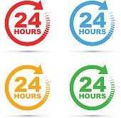 twenty four hours icon set