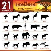 Set of 21 Silhouettes representing different Savanna Animal