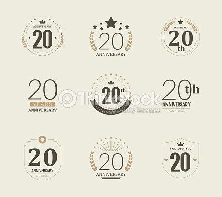 Vingt Ans Danniversaire Logo 20 ème Anniversaire De Logotype Vintage