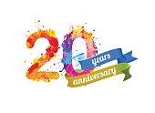 twenty years anniversary. Vector watercolor splash paint