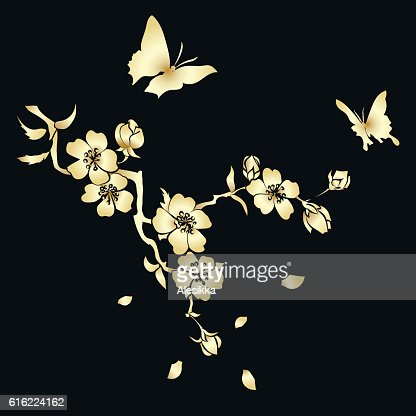 twig cherry blossoms  and butterflies : Vector Art