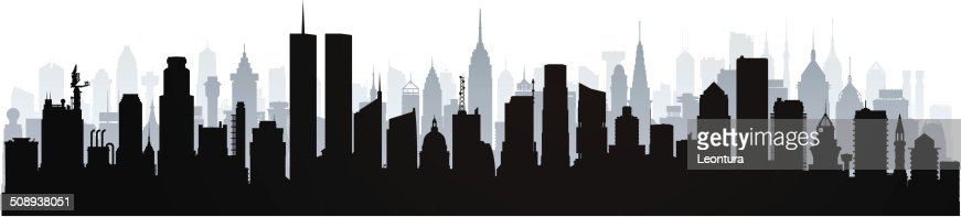 new york city skyline black and white silhouette stock