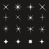 Twinkling star set. Gift diamond decoration and christmas fairy lights, sky holiday firework. Vector flat style illustration isolated on black background