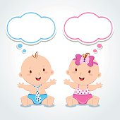 Vector illustration of adorable baby boy and girl.