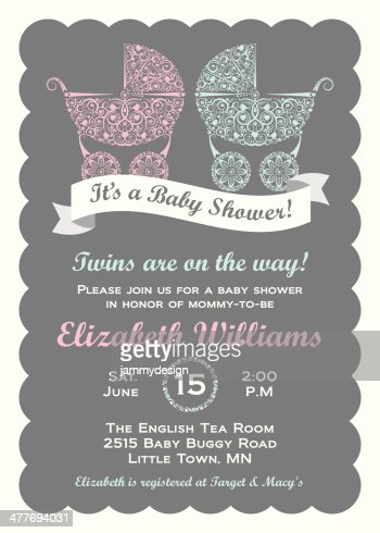 twins baby shower invitation vector art  getty images, Baby shower invitation