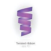 Vector illustration of violet twisted ribbon. Spiral abstract shape. Decorative design element.