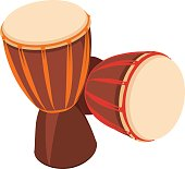 Two african Djembe Drum on white background.
