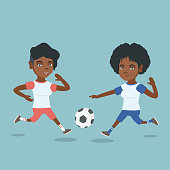 Two african-american sportswomen playing football. Young football players fighting over the control of a ball. Sport and leisure concept. Vector cartoon illustration. Square layout.