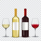 Vector illustration of two bottles and two glasses of wine - red and white