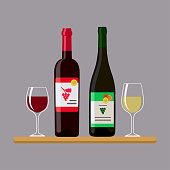 Vector illustration of two bottles wine and two glass, isolated on gray background