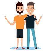 two boys hugging best friends happy smiling vector illustration