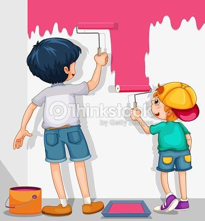 Dos Niños Pintando Las Paredes En Color Rosa Arte vectorial | Thinkstock