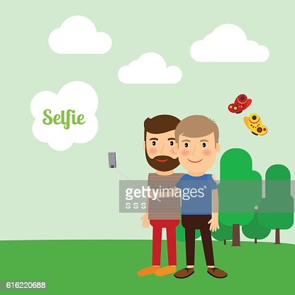 Two boys taking selfie : Vector Art