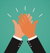 Two Business Hands Giving A High Five For Success Job, Congratulating and Celebration Concept